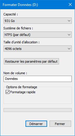 Formatage avec Windows