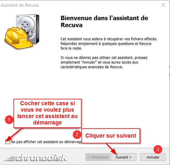 Paramétrage de la recherche avec l'assitant de Recuva : étape 1