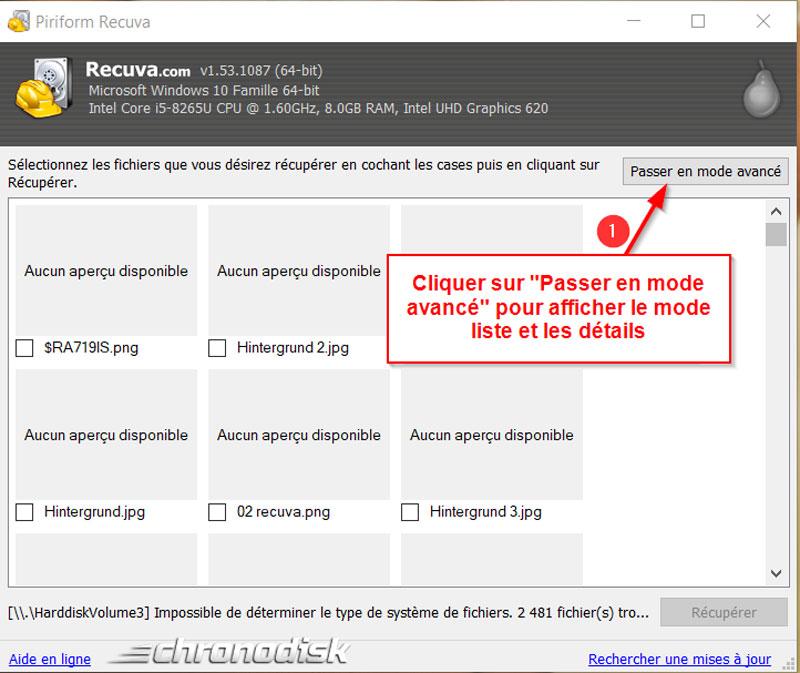Restauration des données perdues avec Recuva : choisir le mode avancé