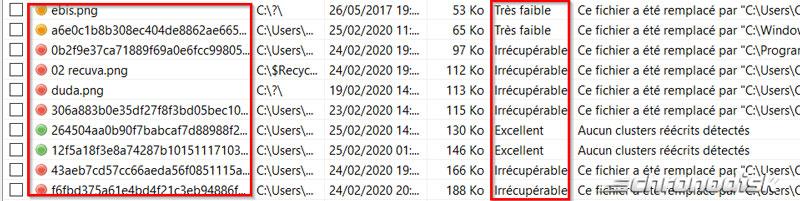 Indices de qualité des fichiers récupérés avec Recuva