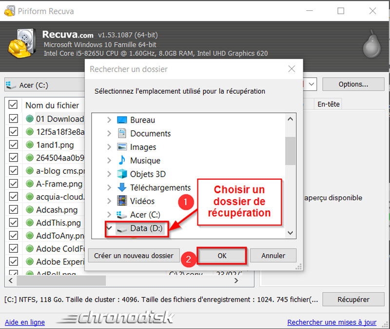 Restauration des données perdues avec Recuva : choix du dossier de récupération